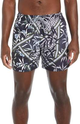 Ted Baker Plecoe Slim Fit Floral Print Swim Trunks