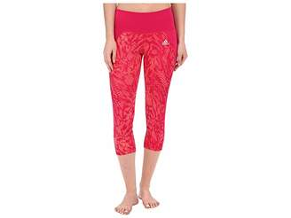 adidas Performer Mid-Rise 3/4 Tights - Poison Ivy Print Women's Casual Pants