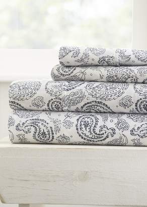 IENJOY HOME Home Spun Premium Ultra Soft Coarse Paisley Pattern 4-Piece Full Bed Sheet Set - Navy