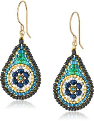 Miguel Ases Small Floral Swarovski Contrasted Tear Drop Earrings