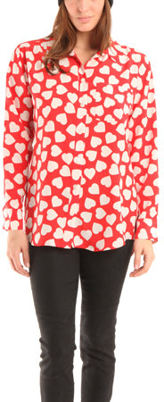 Equipment Signature Blouse in Sangria Heart Print