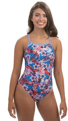 3ec4c60f3d1ba Dolfin Uglies Liberty Print V-2 Back One PieceSwimsuit