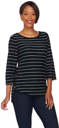 C. Wonder French Terry 3/4 Sleeve Striped Shirt w/ Hi-Low Hem