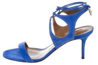 Aquazzura Mid-Heel Suede Sandals