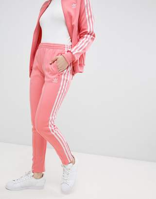 adidas Three Stripe Cigarette Pants In Pink