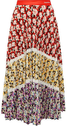Valentino Lace-trimmed Pleated Floral-print Crepe Midi Skirt - Red