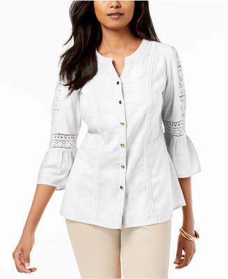 85054ed8e247c ... JM Collection Petite Cotton Embroidered Shirt