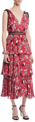 Self-Portrait Self Portrait Tiered Floral Crepe de Chine Midi Dress