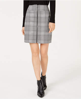 INC International Concepts I.n.c. Petite Plaid Zip-Front Mini Skirt