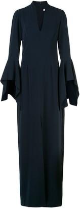 Halston front-slit v-neck dress