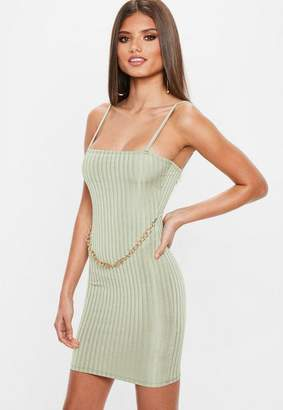 Missguided Green Ribbed Chain Front Mini Dress