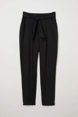 H&M Lyocell Paper-bag Pants - Black