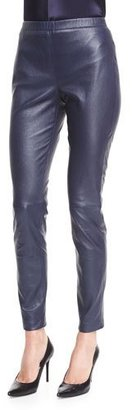 St. John Collection Stretch Napa Leather Cropped Leggings, Bright Navy $1,995 thestylecure.com