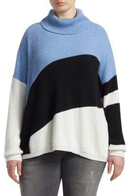 Marina Rinaldi Marina Rinaldi, Plus Size Knit Color-Block Funnelneck Sweater