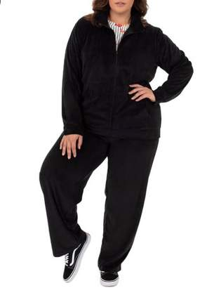 Athletic Works Women's Plus Size Velour Jacket and Pant Set