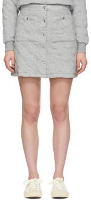 MAISON KITSUNÉ Grey Quilted Buttoned Miniskirt