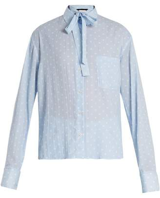 Haider Ackermann Tie Neck Polka Dot Print Blouse - Womens - Blue White