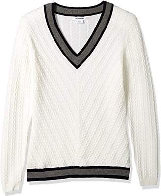 Lacoste Women's Long Sleeve Contrast Ribbed Cable Knit Stitch Wool Sweater