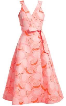 Vika Gazinskaya Lemon Jacquard Wrap Dress - Womens - Pink Print