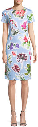 Carolina Herrera Crewneck Short-Sleeve Floral-Print Daytime Sheath Dress