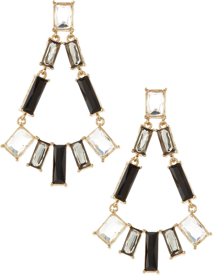 Fragments for Neiman Marcus Rectangle-Cut Stone Earrings, Black/Clear