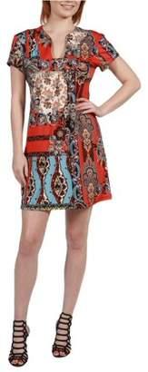 24/7 Comfort Apparel Women's Cynthia Orange and Turquoise Mini Dress