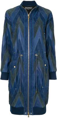 Balmain chevron pattern bomber coat