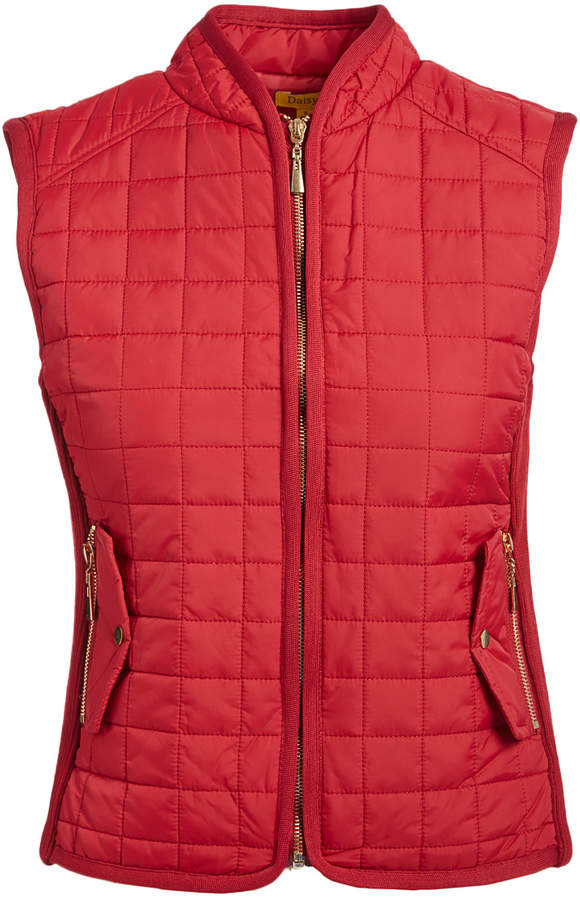 Wine Snap Pocket Quilted Puffer Vest - Women & Plus