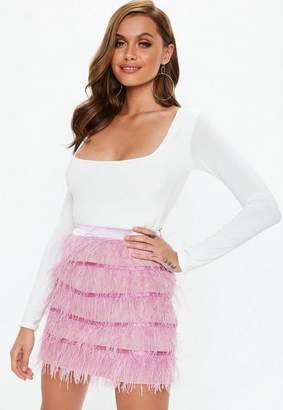 Missguided Petite Pink Ostrich Feather Mini Skirt