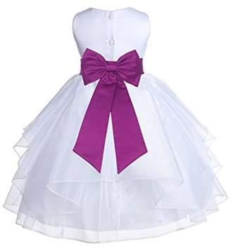 Ekidsbridal White Satin Shimmering Organza Formal Flower Girl Dresses Communion Dress Baptism Dress Holiday Dresses Toddler Girl Dresses Junior Bridesmaid Dress Special Occasion Dresses 4613T