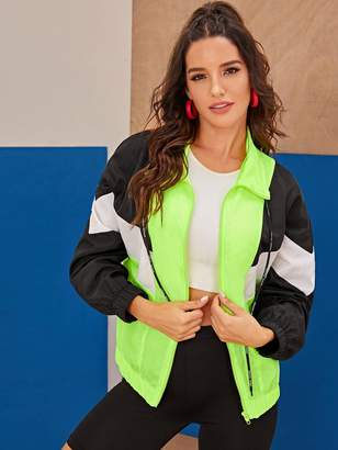 Shein Neon Green Color-block Windbreaker Jacket