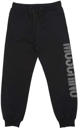 Moschino Crystal Logo Cotton Sweat Shorts