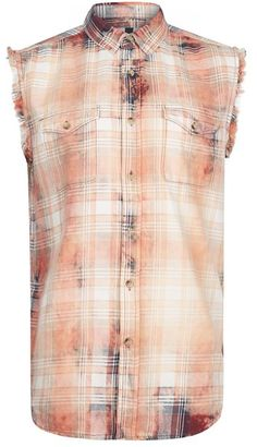 Checked Sleeveless Frayed Hem Shirt $50 thestylecure.com
