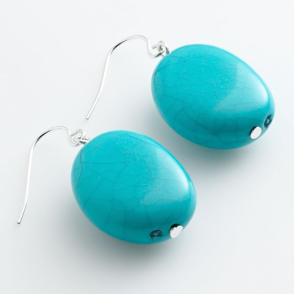 Chaps simulated turquoise drop earrings