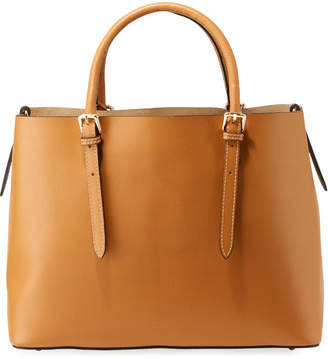 Neiman Marcus Saffiano Leather Compartment Tote with Crossbody Strap