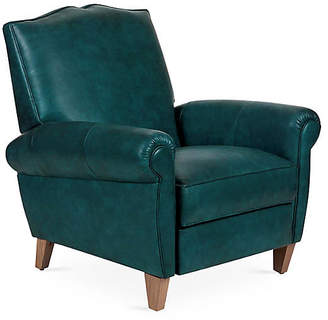 One Kings Lane Hartford Club Recliner - Teal Leather