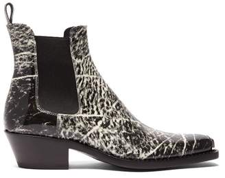Calvin Klein Chris Western Grain Print Leather Boots - Mens - Black