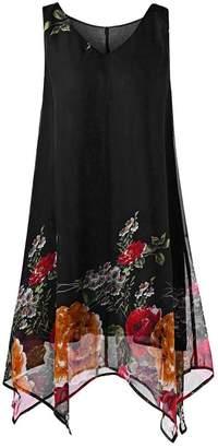 Muranba Women Plus Size Dress Chiffon Sleeveless Print Irregular Hem Mini Dress (, 2XL)