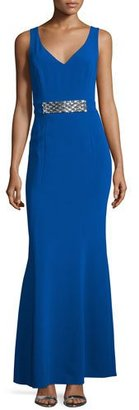 Laundry By Shelli Segal Sleeveless Embellished-Waist Gown, Jubilee Blue $625 thestylecure.com