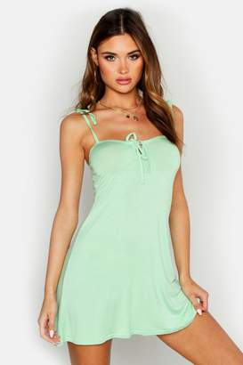 boohoo Bust Cup Tie Detail Fit & Flare Dress