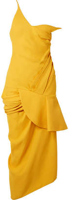 Jacquemus La Robe Sol Off-the-shoulder Ruffled Canvas Midi Dress - Mustard
