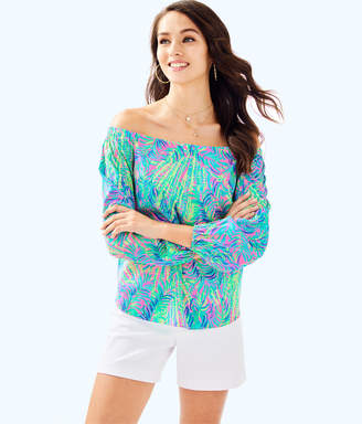 Lilly Pulitzer Womens Adira Silk Off The Shoulder Top