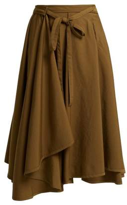 Lemaire High Rise Wool Wrap Midi Skirt - Womens - Brown
