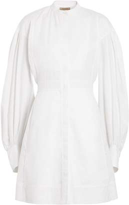 Burberry Puff-sleeve Cotton Shirt Dress