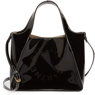 Stella McCartney Perforated Logo Faux Patent Leather Satchel