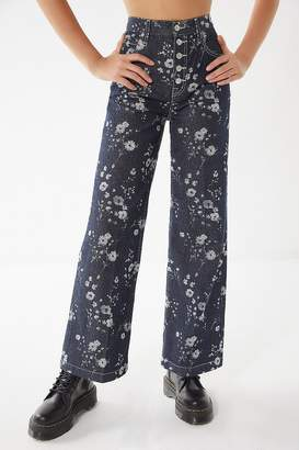 BDG Button Fly Floral Wide-Leg Jean