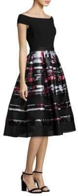 Carmen Marc Valvo Off-The-Shoulder Printed Dress