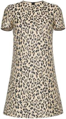 Valentino leopard brocade silk blend mini dress