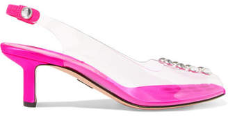 Paul Andrew Serra Studded Plexi, Satin And Leather Slingback Pumps - Fuchsia