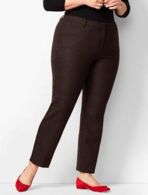 Talbots Plus Size High-Waist Tailored Ankle Pants - Dot